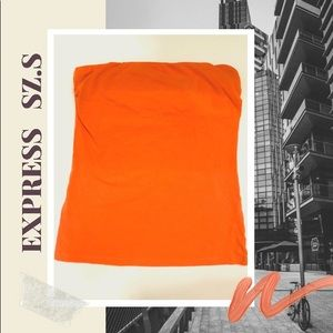 Orange stripeless tank top on elastic band